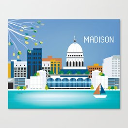 Madison, Wisconsin - Skyline Illustration by Loose Petals Canvas Print