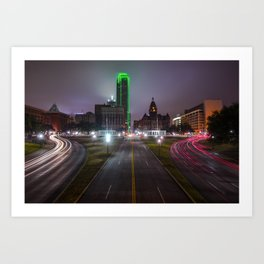 Night Skyline of Dallas Texas Art Print