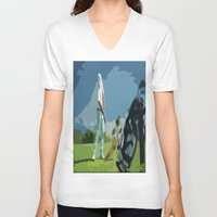 golf V-neck T-shirts featuring GOLF by aztosaha