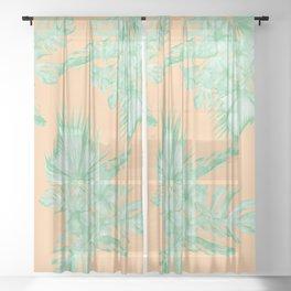 Tropical Monstera Hibiscus Botanical Pattern Green Coral Peach V Sheer Curtain