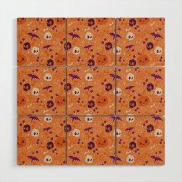 Purple Orange Halloween Pattern Wood Wall Art