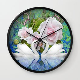 Swans and Roses Wall Clock