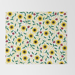 Sunflowers and Ladybugs Pattern Throw Blanket