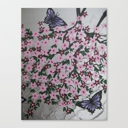 pink purple silver and green painting with butterflies and flowers pretty designs beautiful Canvas Print