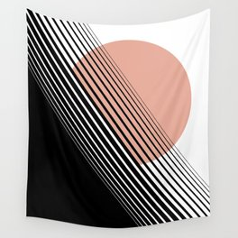Rising Sun Minimal Japanese Abstract White Black Rose Wall Tapestry
