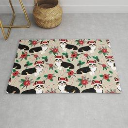Tricorgi Christmas Floral print - tri corgi blanket, tricolored corgi, corgi gift, corgi lover, cute Rug
