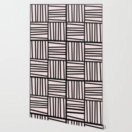 Bold Graphic Memphis Pattern, Black & Pink Blocks & Lines Wallpaper