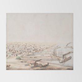 Vintage Pictorial Map of Galveston TX (1855) Throw Blanket