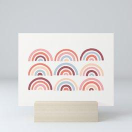 Stamped Rainbows - Maroon Mini Art Print