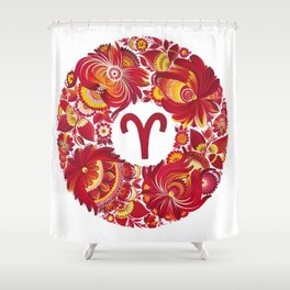 Aries in Petrykivka Style (without artist's signature/date) Shower Curtain