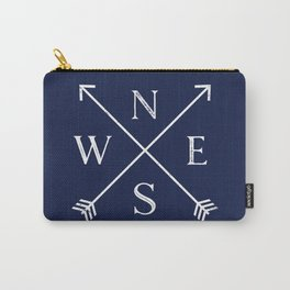 Navy Blue and White Compass Arrows Carry-All Pouch