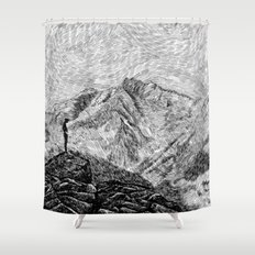 Child on the rock - Black ink Shower Curtain
