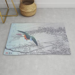 Kingfisher going for a dive - Vintage Japanese Woodblock Print Art Rug