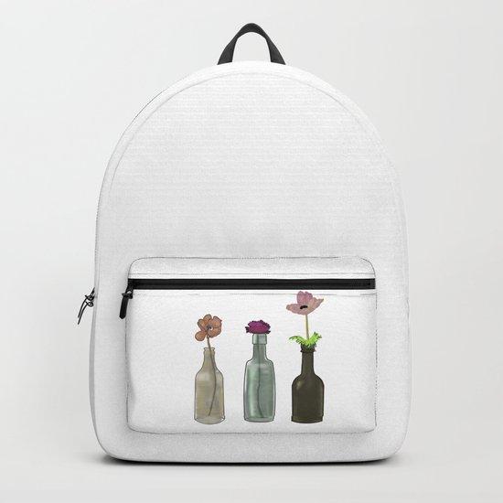 flowers in bottles . Pastel colors Backpack