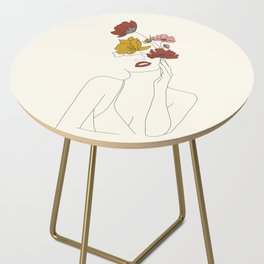 Colorful Thoughts Minimal Line Art Woman with Flowers Side Table