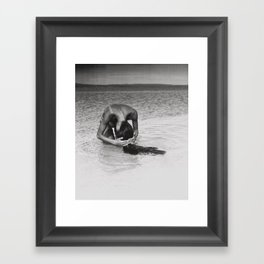 Nothing but tan lines, ocean, & beach female form black and white photography Framed Art Print