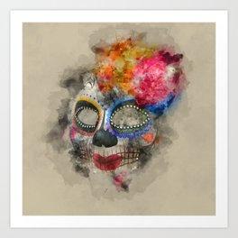 Watercolour Mask Art Print