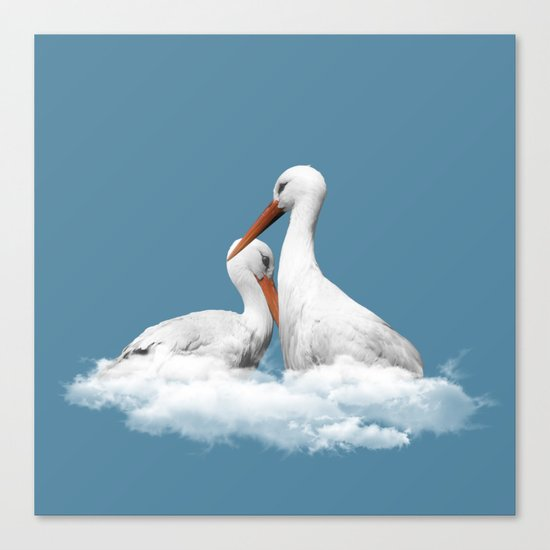 STORKS ON CLOUDS (animals love) Canvas Print