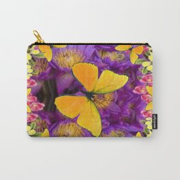 RED GOLDEN BUTTERFLIES PURPLE-YELLOW FLORAL Carry-All Pouch