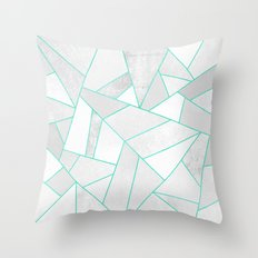 White Stone with Turquoise Lines Throw Pillow