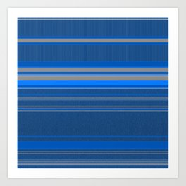 Bright Blues with Grey Stripes Art Print