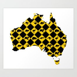 Australian Animals Road Signs Map Art Print