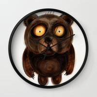 teddy bear Wall Clocks featuring Teddy Bear by Riccardo Pertici