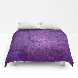 star mandala deep in the dark purple dream Comforters
