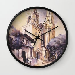 Mission Dolores watercolor painting in San Francisco, California.  Watercolor Mission Dolores church Wall Clock