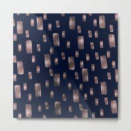 Modern Brush Rose Gold Pink & Navy Blue Metal Print