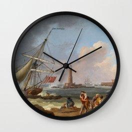 Jakob Philipp Hackert - Der Hafen von Livorno mit der Rettung Schiffbrüchiger Wall Clock