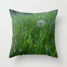 Field of flowers and Dandelions (2) Throw Pillow