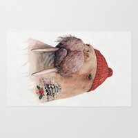 walrus Area & Throw Rugs featuring Tattooed walrus by Animal Crew