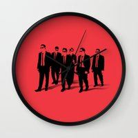 reservoir dogs Wall Clocks featuring Reservoir Dogs by Jason Vaughan