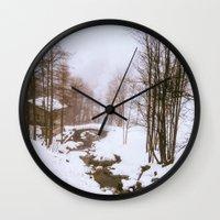 fairy tale Wall Clocks featuring Fairy tale. by Carola Ferrero