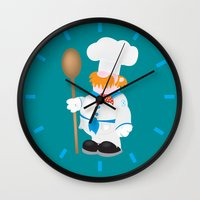 cooking Wall Clocks featuring OCD Obsessive cooking disorder by mangulica illustrations