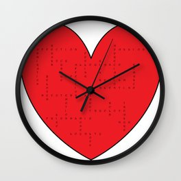 Heart Love Words Wall Clock