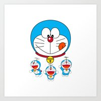 doraemon Art Prints featuring Dora Flaying Together  by Timeless-Id