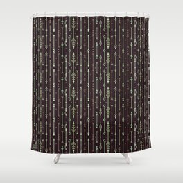 Scandi-Sticks A - Vertical - Greens Shower Curtain