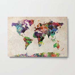 World Map Urban Watercolor Metal Print