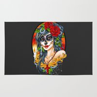 day of the dead Area & Throw Rugs featuring Day of the Dead by Little Lost Forest