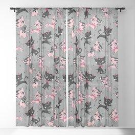 Devil Kitties Grey Sheer Curtain
