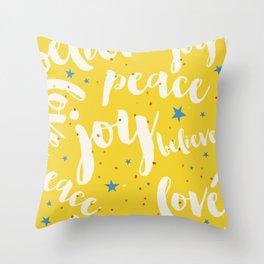 Peace & Joy Typography Yellow Background Throw Pillow
