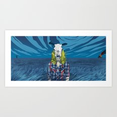 Cowgirl From Hell - Blue Art Print