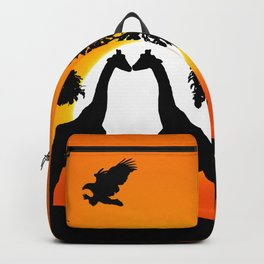 Giraffe silhouettes at sunset Backpack