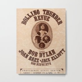 Very Rare Vintage 1975 Bob Dylan and Rolling Thunder Review Flyer - Poster Providence, Rhode Island Metal Print