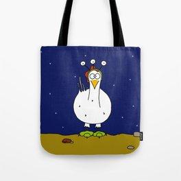 Eglantine la poule (the hen) dressed up as an alien Tote Bag