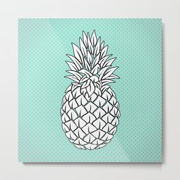 Turquoise Pineapple , pink Pineapple , tropical , hawaii , summer , fruit , Metal Print