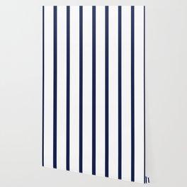 Vertical Navy Blue Stripes Pattern Wallpaper