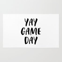Yay Game Day Football Sports Black Text Rug